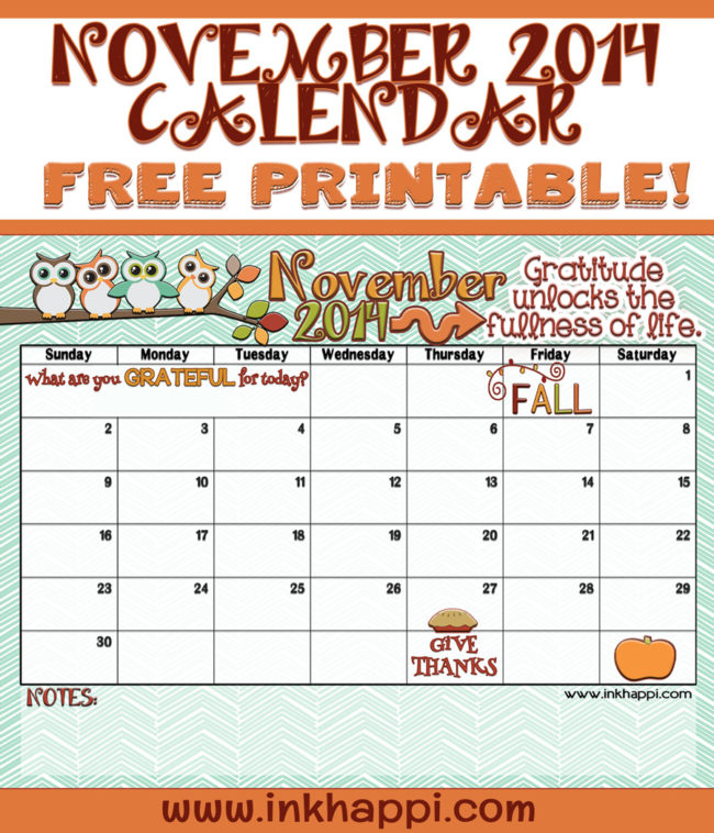 Calendar Free Image : November calendar is here inkhappi