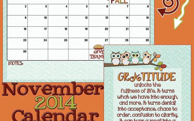 November 2014 Calendar and gratitude free printables!