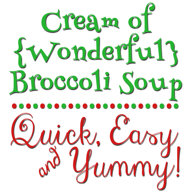 This broccoli soup is so quick, easy and yummy. The ingredients base is good ole comfort food and the broccoli can be substituted for other veges and meat too. Yum!