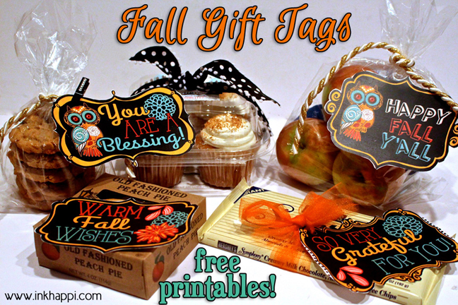 Fall printable gift tags to show your gratitude! #freeprintables #fall #gifttags
