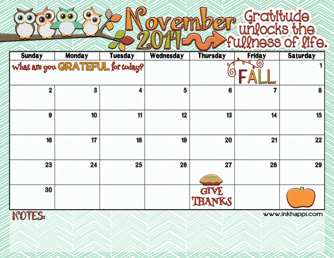 Yay! NOVEMBER 2014 calendar from inkhappi