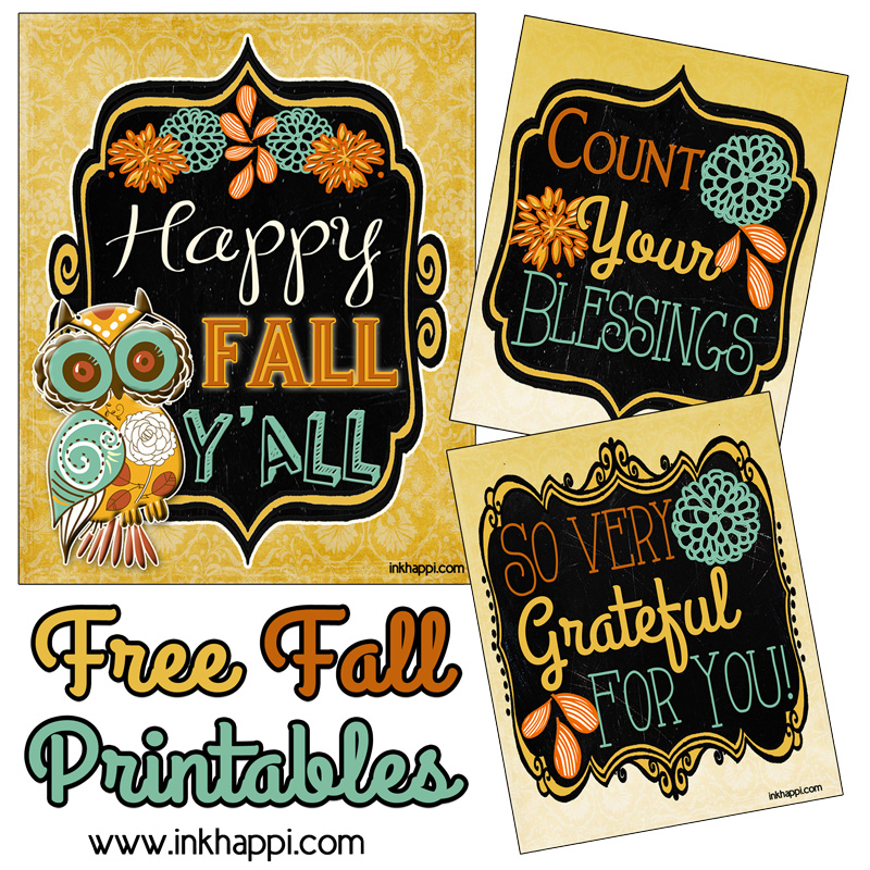 Pretty Fall Printables great for framing or gifting!