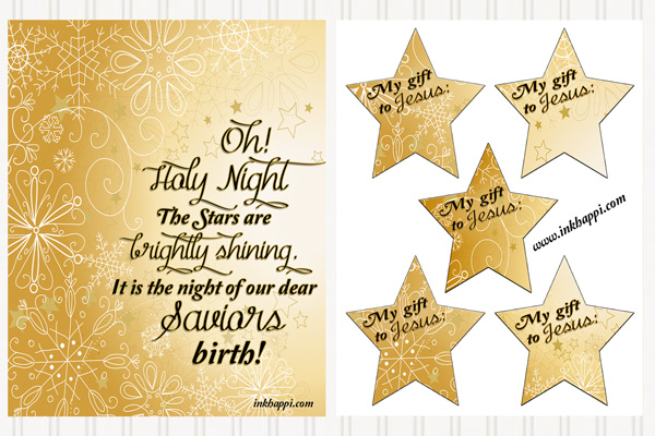 Oh Holy night Christmas Carol free print and activity with stars for a christ centered Christmas display/activity