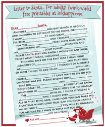 A letter to Santa... for adults {wink-wink} Mad lib style! This includes 2012. 2013, and now 2014 versions!!