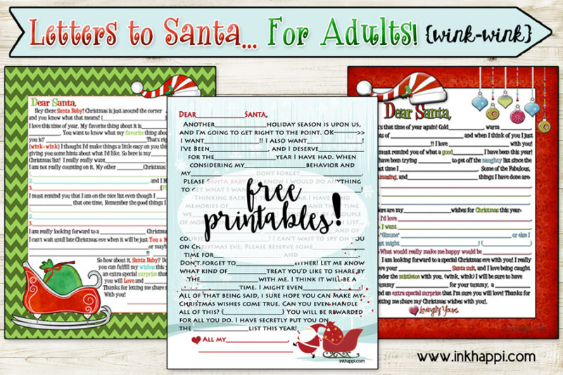 Adult letter to Santa {wink-wink} Mad lib style! This includes 3 different versions!!