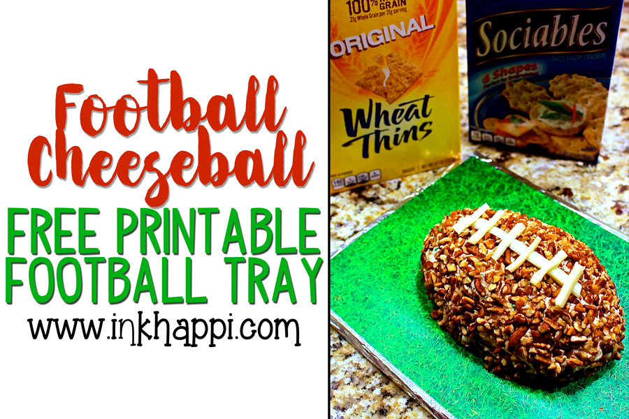 How to make a football cheese ball and a diy grass serving try. The hit of the party! #football #cheeseball #party #presentation