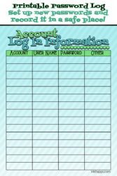 Printable Password Log and Creating New Passwords