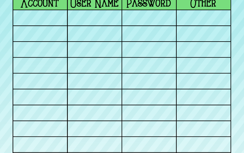 Printable Password Log to keep a personal record of accounts and passwords along with some creating new password tips!