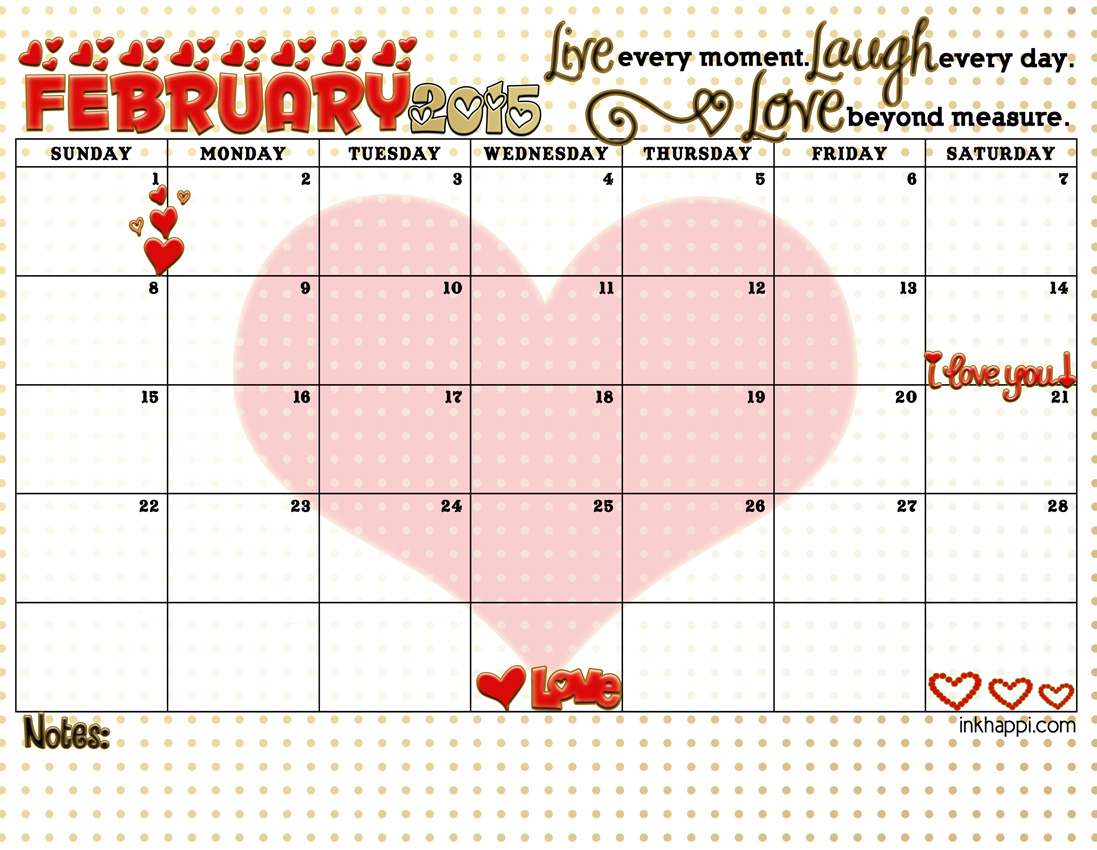 February 2015 Calendar With A Focus On 3 Special Words Inkhappi