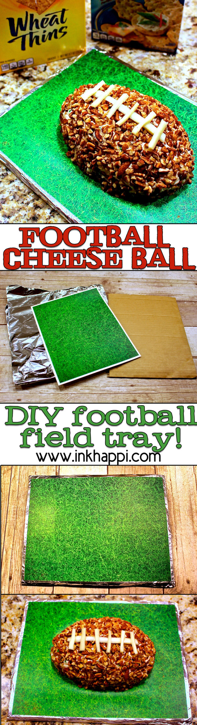 How to make a football cheese ball and a diy grass serving try. The hit of the party!