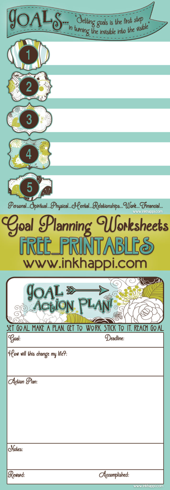 Goal Planning Worksheets free printables. Planning is a must to achieve success! #freeprintable #goals #planning