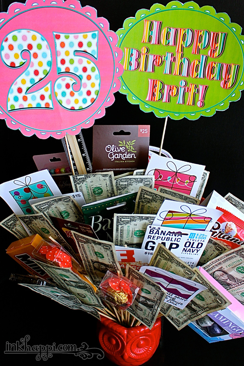 Birthday Gift Basket Idea With Free Printables