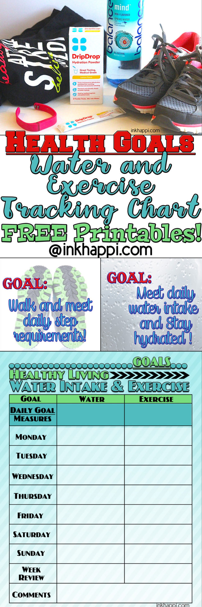 Health GOALS: Free printable water and exercise tracking chart to help meet your health GOALS!