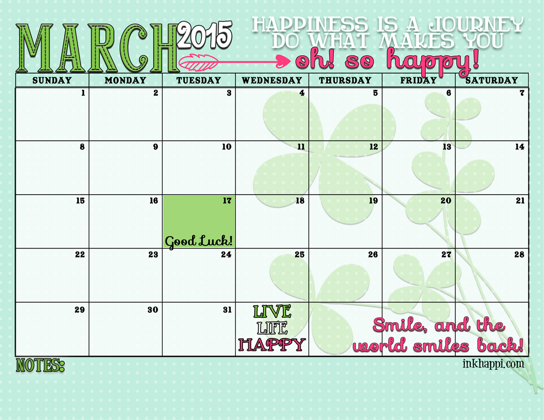 Calendar Planner March : March calendar and print inkhappi