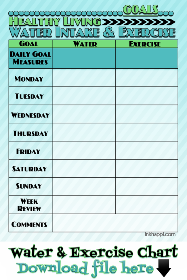 Water Intake and Exercise Tips plus a Tracking Chart ...
