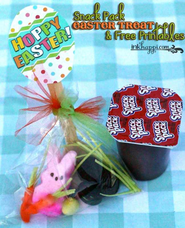 Snack Pack Easter Pudding Cups recipe idea with free printables! Make a treat kit to give away and have them put it together!