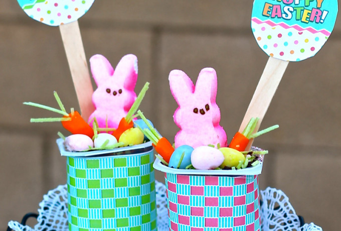 Snack Pack Easter Pudding Cups recipe idea with free printables!