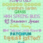 Spring fonts including flower and Easter elements