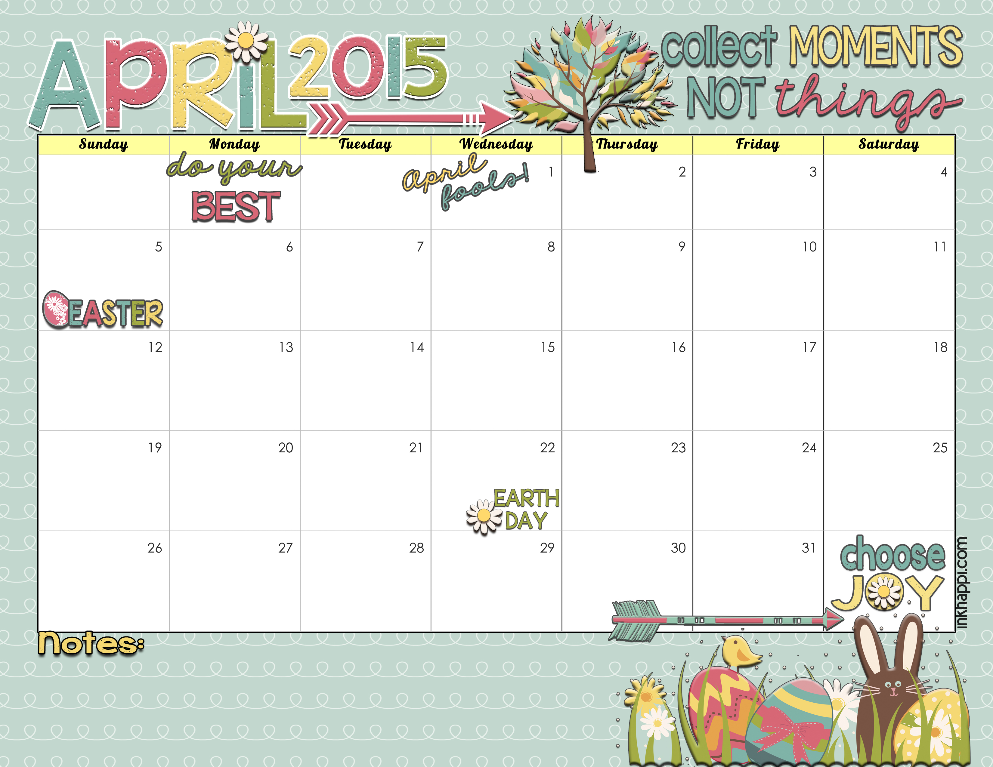 Yay! MARCH 2015 calendar from inkhappi