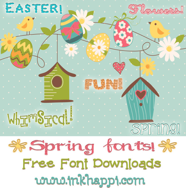 Spring fonts including flowers and Easter fonts with free download links