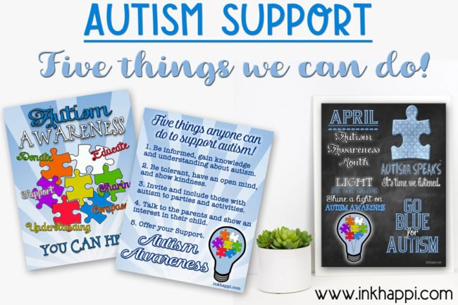 Autism support: Five things everyone can do to support autism! #autismawareness #supportautism #causes #freeprintables