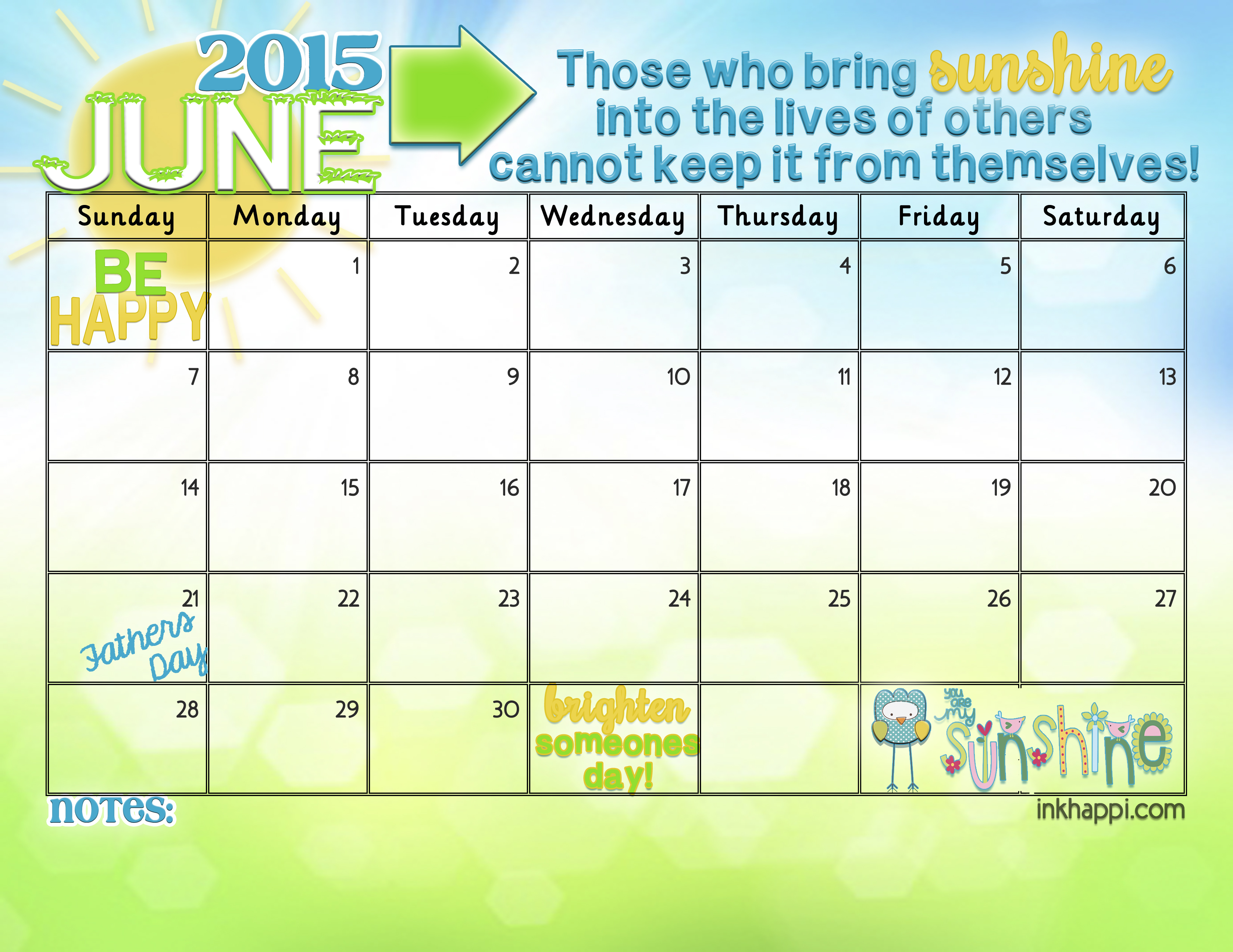 Yay! JUNE 2015 calendar from inkhappi
