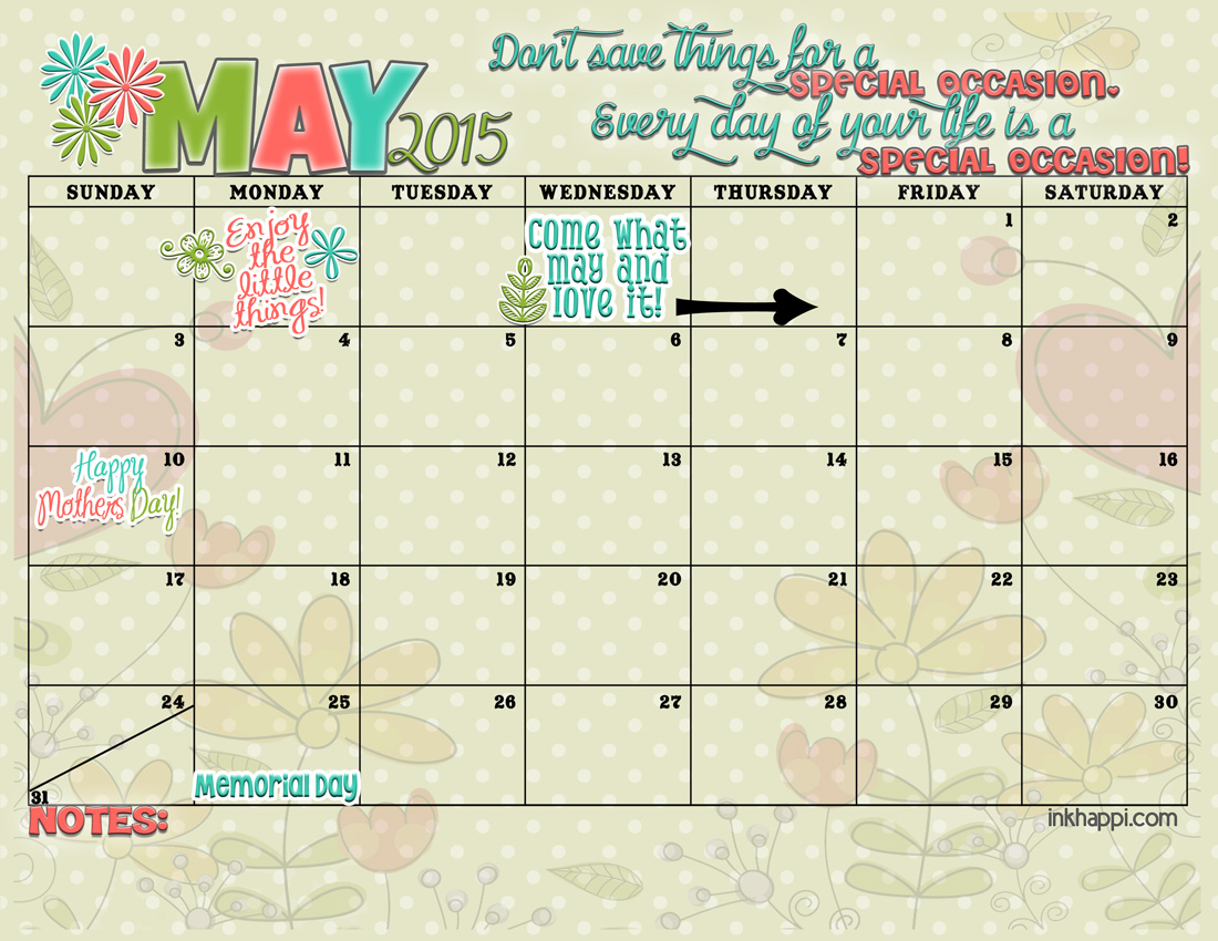 Yay! MAY 2015 calendar from inkhappi