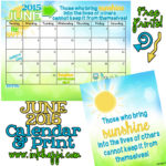 June 2015 Calendar… Spreading Sunshine!
