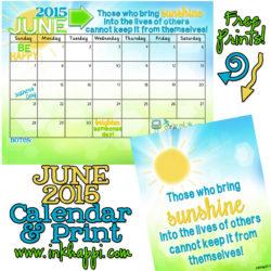 June 2015 Calendar… Spreading Sunshine!