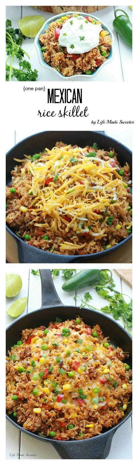{ONE PAN} MEXICAN RICE SKILLET from Life made sweeter. Oh my Yum!