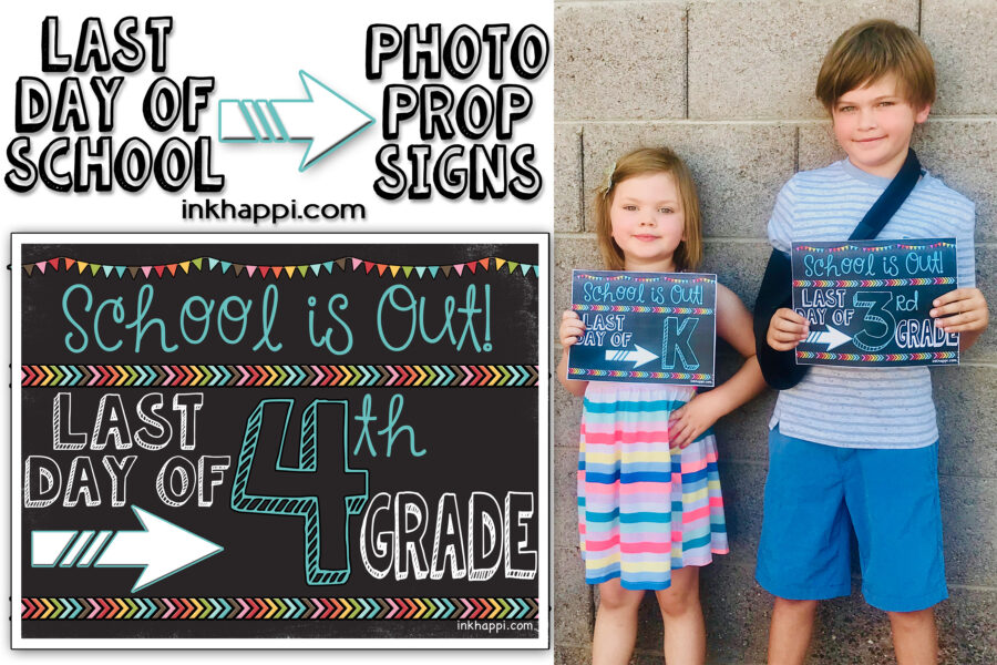 Last day of school photo prop signs. (matching first day ones also) So cute!! #freeprintables #school