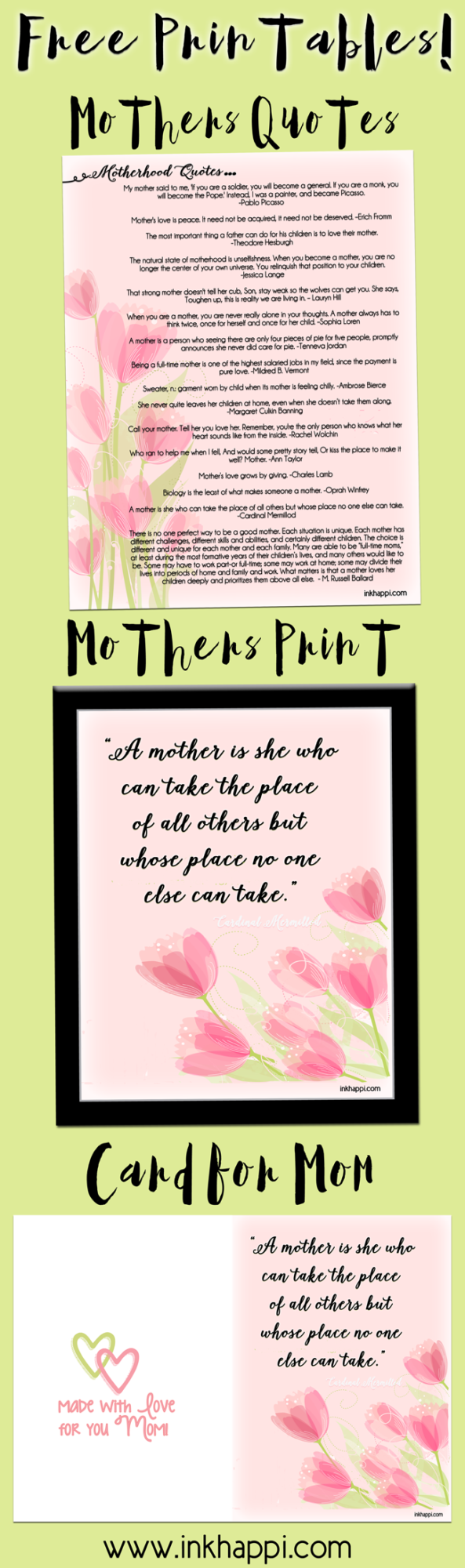 Motherhood quotes. Free printables! Great for Mothers Day. :)