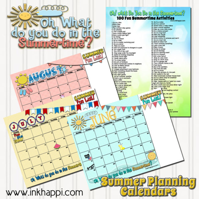 Plan out your summertime activities with these ideas and planning calendars. Over 100 ideas to keep the kids happy and participating in worthwhile activities.