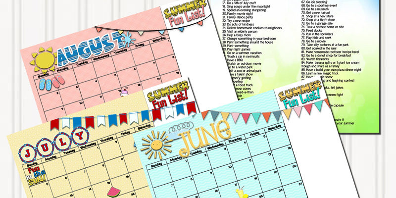 Summertime activities and free planning calendars!