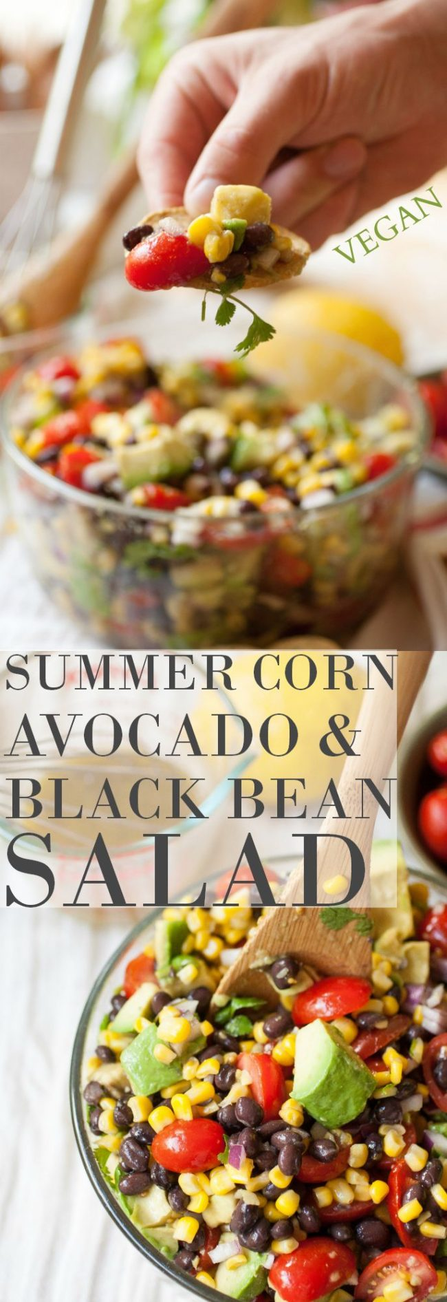 How about this SUMMER CORN, AVOCADO & BLACK BEAN SALAD from Produce on Parade! This will make a great dip, size dish or light meal.