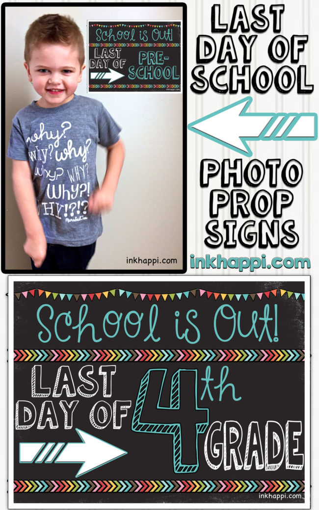 Last day of school photo prop signs. (matching first day ones also) So cute!!