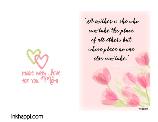 Card for Mom plus Motherhood quotes. Free printables! Great for Mothers Day. :)