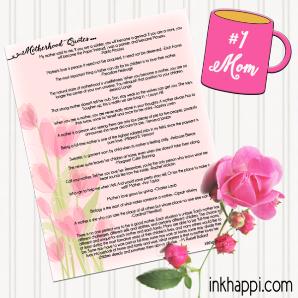 photograph regarding Printable Mothers Day Quotes named Mom I delight in Oneself! Moms Working day Prices Prints - inkhappi