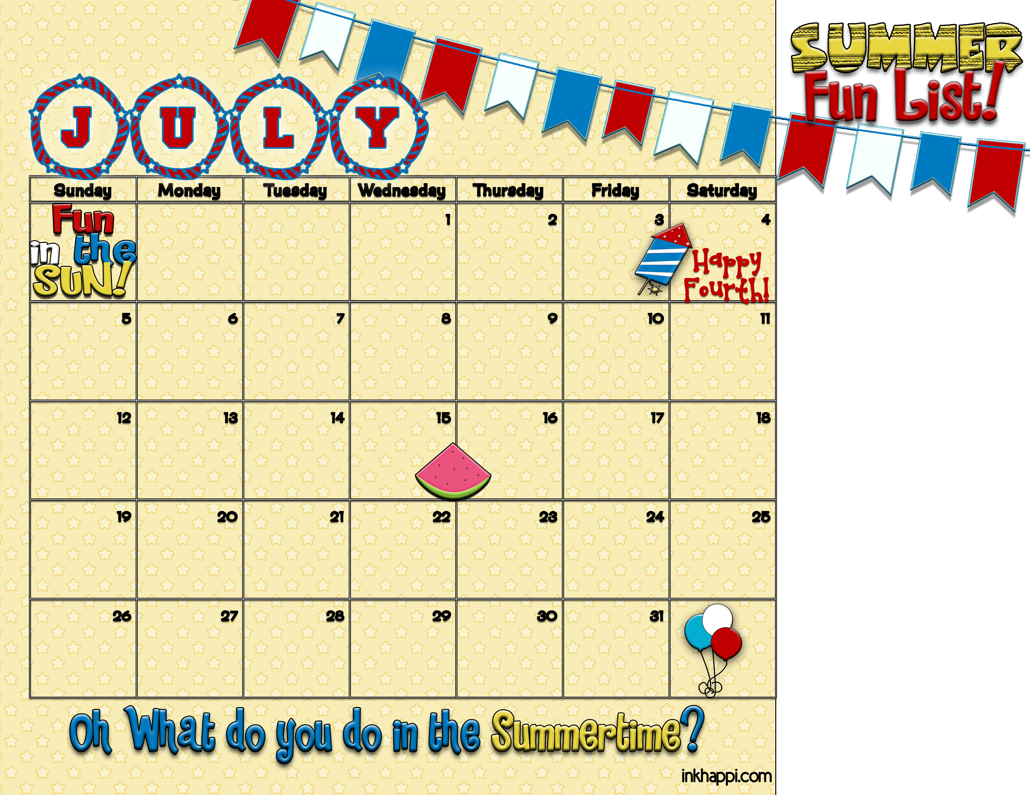 Calendar Ideas For July : Summertime activities and free planning calendars inkhappi