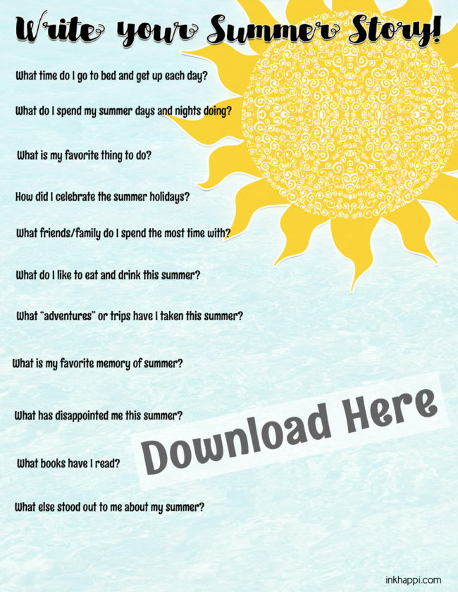 Every summer has a story. Write yours! free summer printables