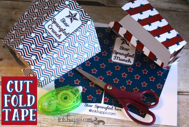 How to put together these patriotic printable popcorn boxes.