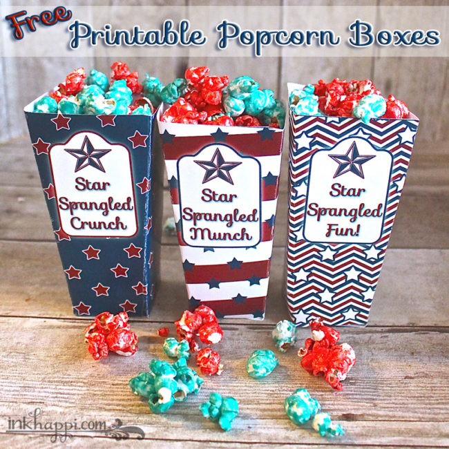 Free printable popcorn boxes and a ten minute  yummy sweet popcorn recipe. Just in time for some 4th of July fun!