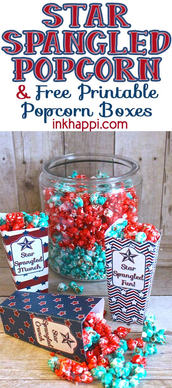 Sweet popcorn recipe and patriotic printable popcorn boxes. #patriotic #fourthofjuly #freeprintable #sweetpopcornrecipe