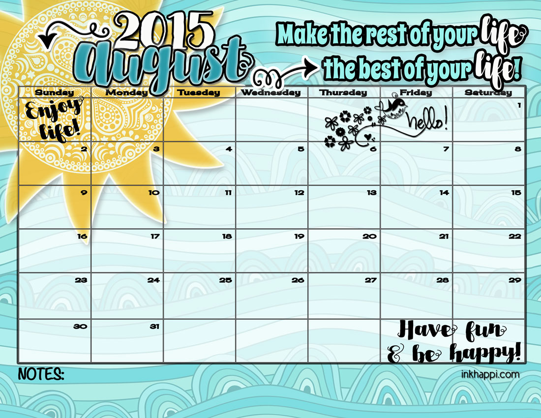 august 2015 calendar and print from inkhappi.