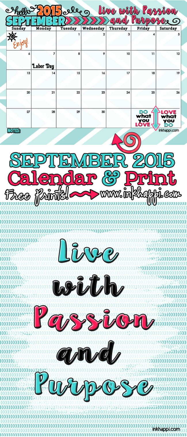 September 2015 Calendar and print. free printables from inkhappi