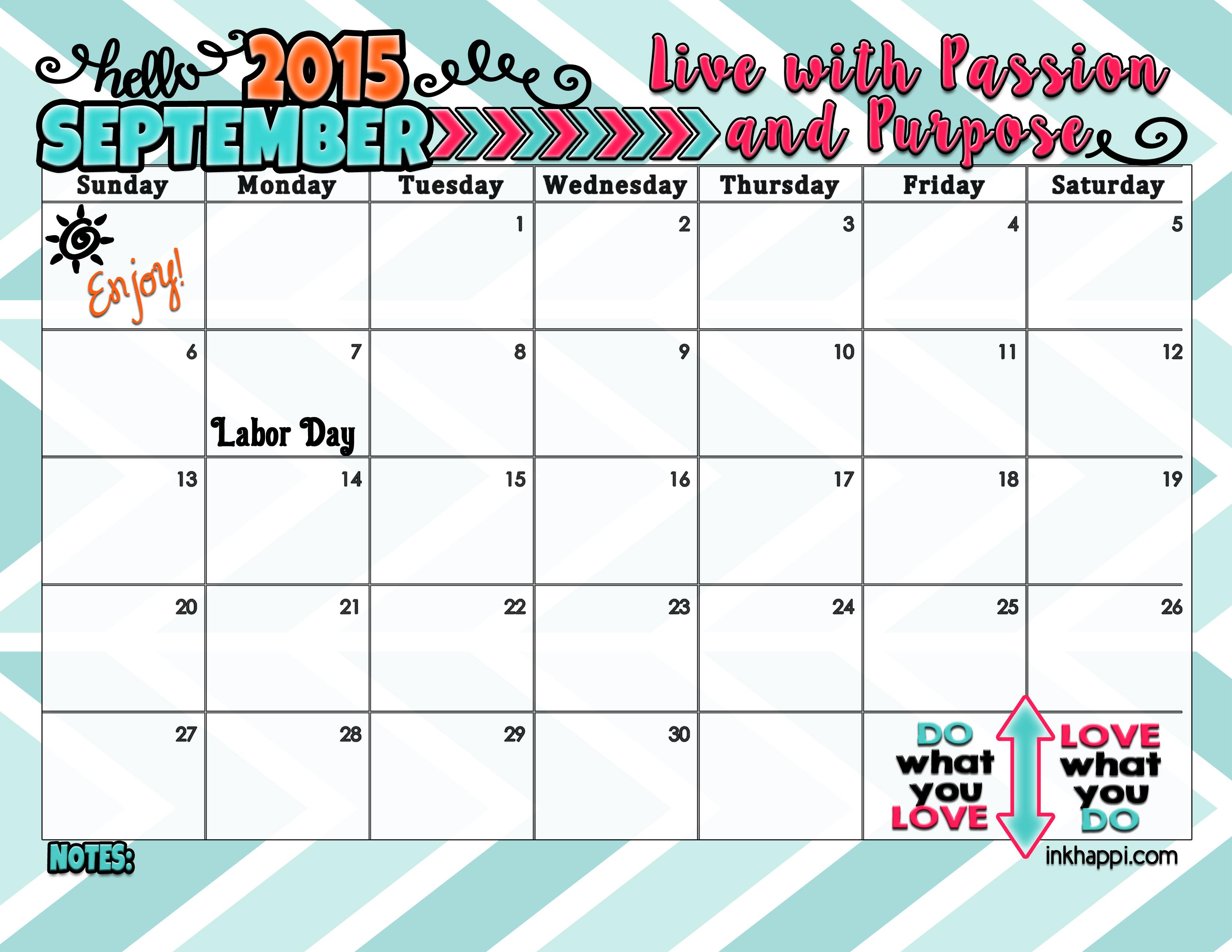 september 2015 calendar from inkhappi has arrived inkhappi