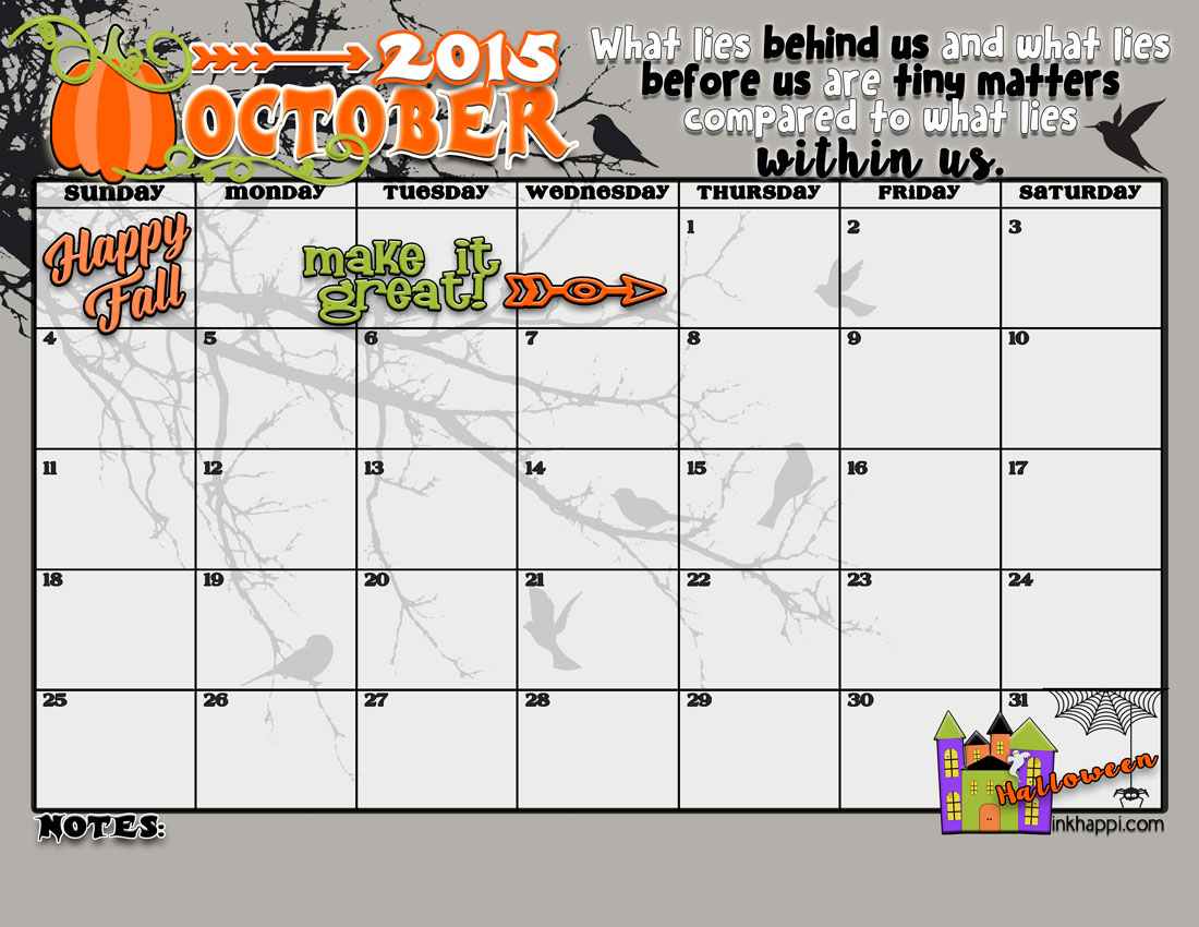 and the thought for the october 2015 calendar