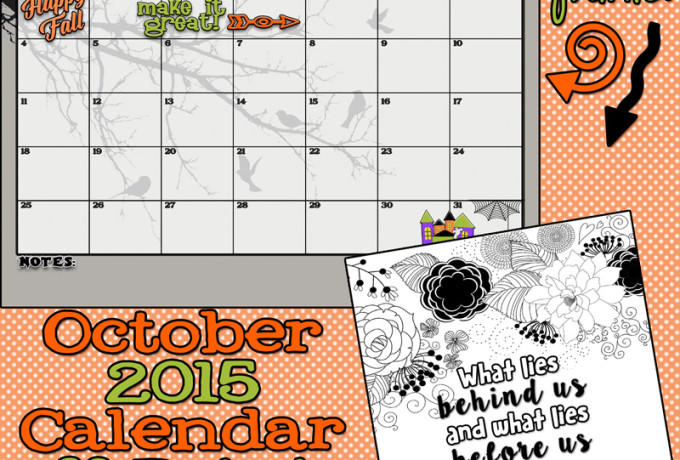 October 2015 Calendar and print. Free printables! A cute new calendar every month!