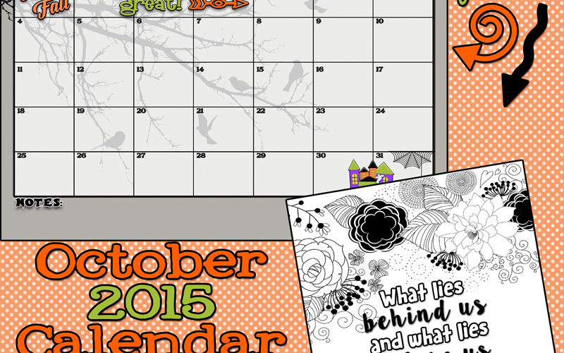 October 2015 Calendar and print. Free printables! A cute new calendar every month!