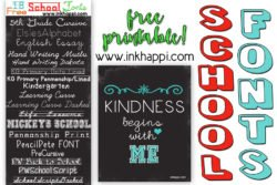An awesome collection of school fonts and this free printable with a great message! #freefonts #freeprintable #kindness #schoolfonts #school